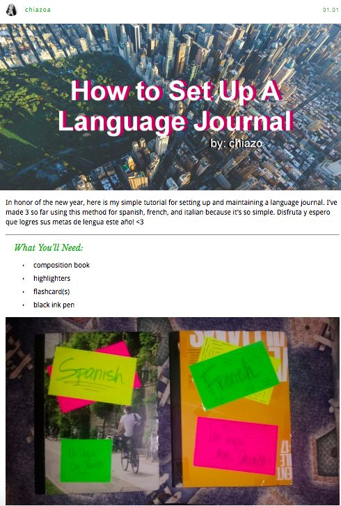 How to Set Up a Language Journal