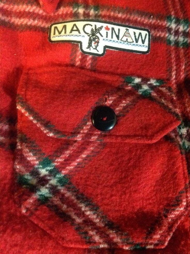 GENUINE MACKINAW WOOL JACKET Red Plaid Men LARGE vintage crest
