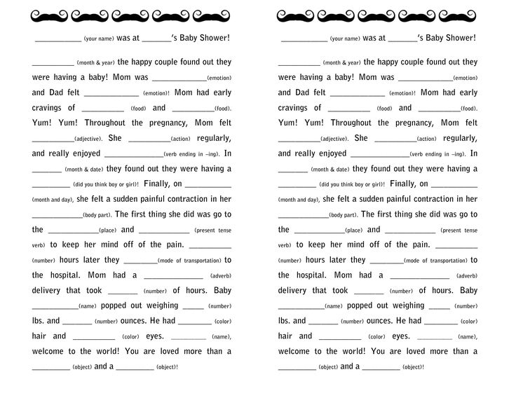 free printable mad lib... you can use it as a guest book for a baby shower!