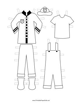 These free, printable Firewoman Paper Doll uniforms feature black stripes, a black collar and white buttons. There's a coat, badge and helmet. Overalls and a t-shirt make a great outfit for relaxing at the fire station. Free to download and print