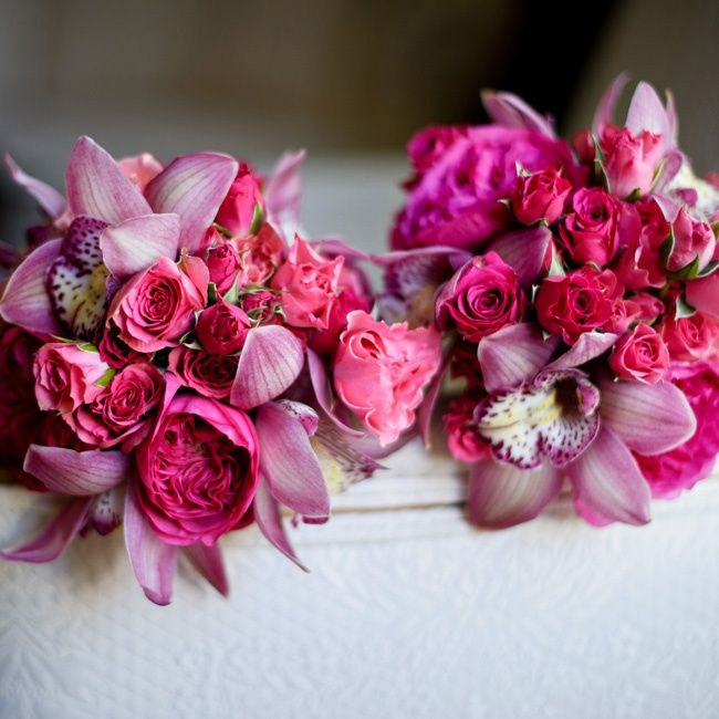 Hot pink orchid and rose bridesmaid bouquets | Ashley Therese Photography, LLC | Floresta Floral Design | www.theknot.com