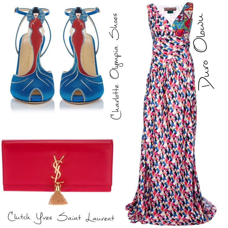Outfit Duro Olowu Dress,Charlotte Olympia Shoes And Yves Saint Laurent clutch