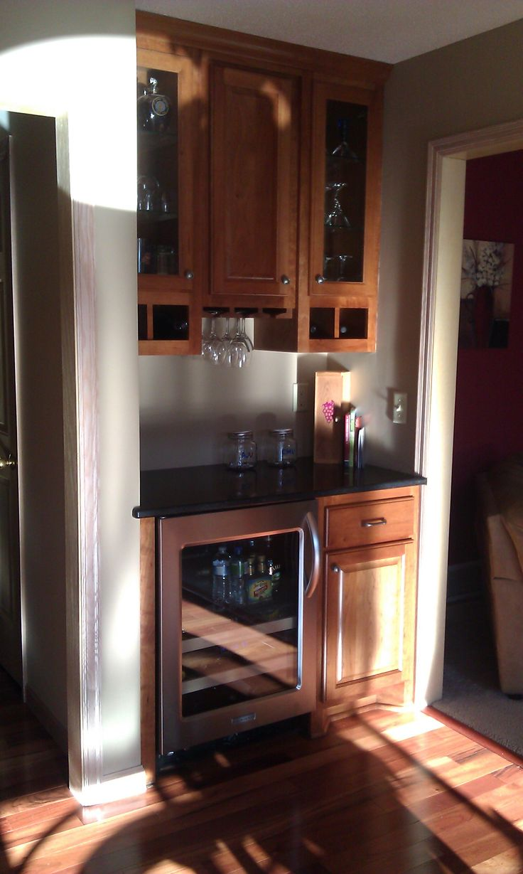 Add To Rec Room Small Dry Bar With Wine Cooler Rack For Stemware In Cupboards Above