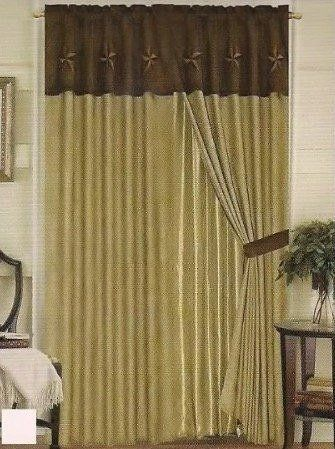 Western Embroidery Star Suede Curtain set With Lining - Beige & Brown