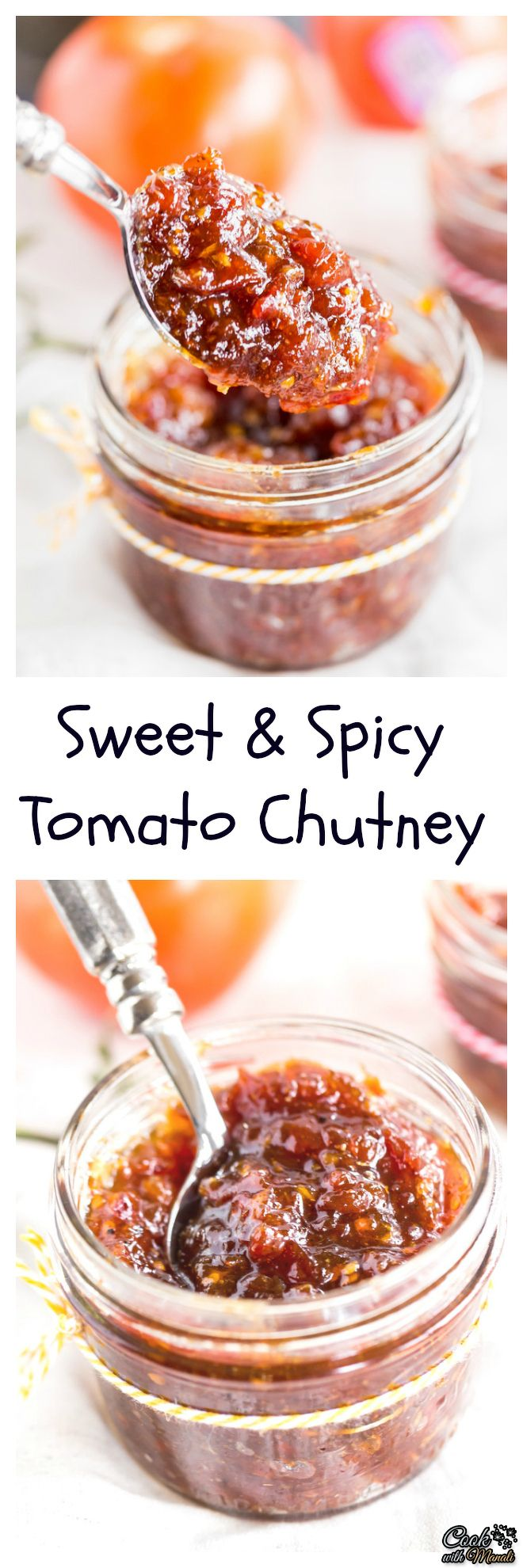 Sweet & Spicy Tomato Chutney is awesome with parathas or sandwiches! It's the perfect accompaniment to any Indian meal. #indian #chutney #vegan #tomato