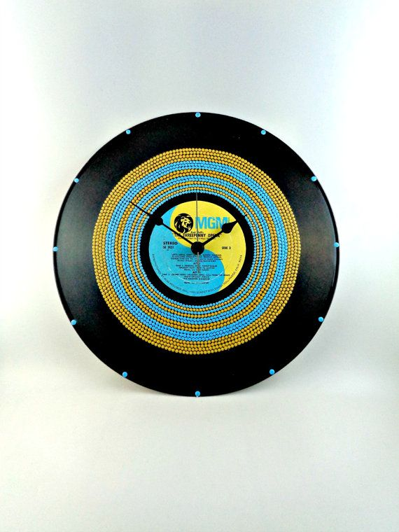 Light Blue&Mustard Yellow Vinyl Clock Hand by InsaneDotting