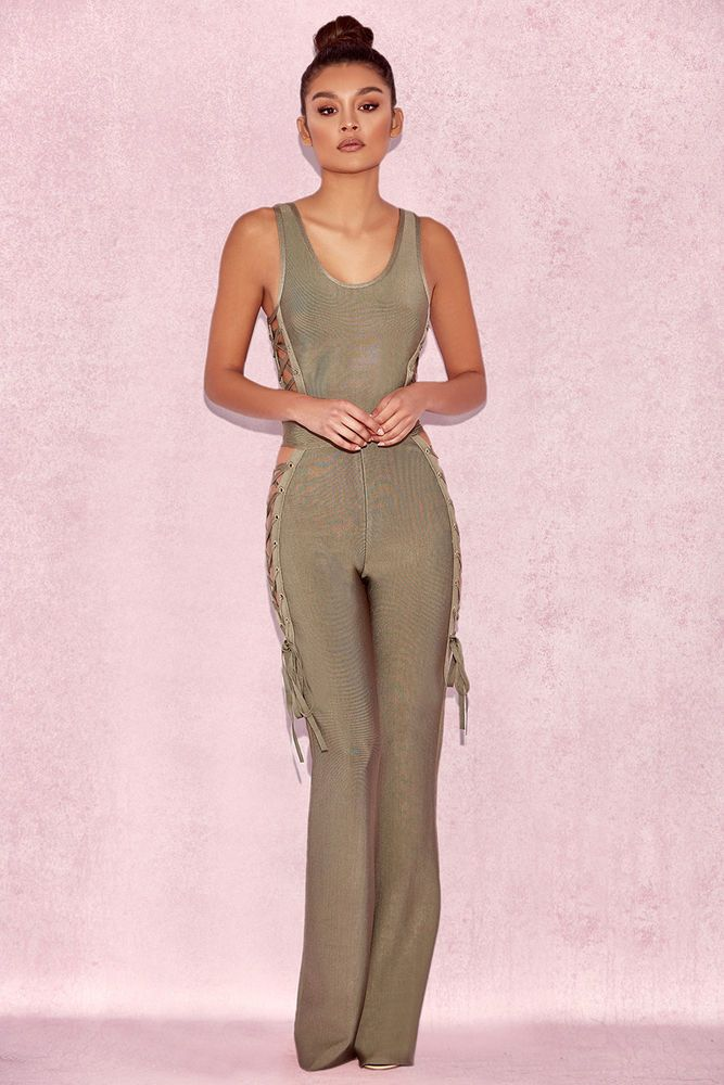 8e703f5ff9bb HOUSE OF CB  Greta  Olive Bandage Jumpsuit with Tie Sides L 12   14 SJ 1813   fashion  clothing  shoes  accessories  womensclothing  jumpsuitsrompers  (ebay ...