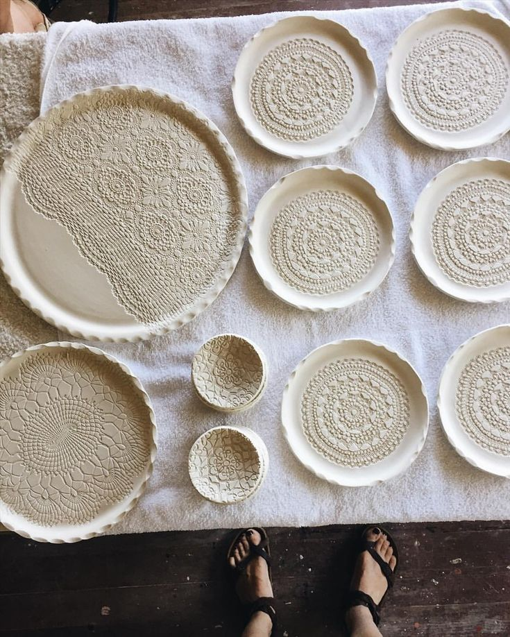 """705 Likes, 20 Comments - Kim Wallace (@kimwallace_ceramics) on Instagram: """"Vintage Lace plates and platters looking pretty on the glazing table ..."""""""