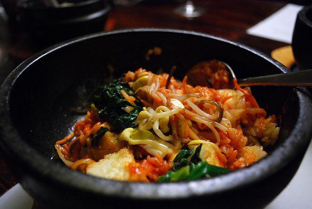 Vegetable Bibimbap recipe - Tofu, Rice, Carrot, Zucchini, Spinach ...