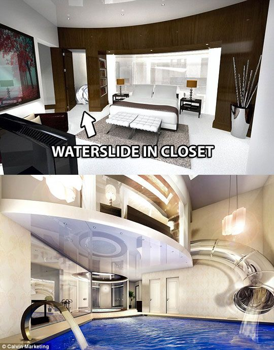 Waterslide in closet leads to indoor pool