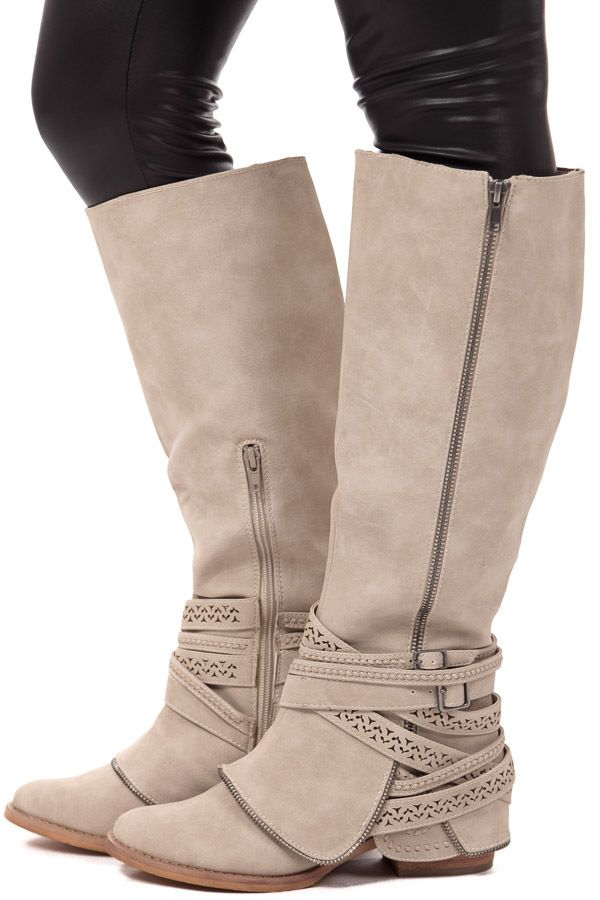 Lime Lush Boutique - Cream Leather Strappy Cutout Boot, $84.99 (http://www.limelush.com/cream-leather-strappy-cutout-boot/)