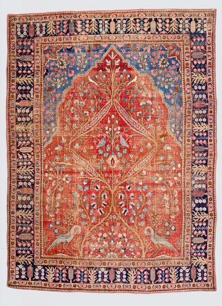Persian-Tabriz-rug  around 1920, ghiordes-knot, worn, damaged, incomplete 383*282 cm
