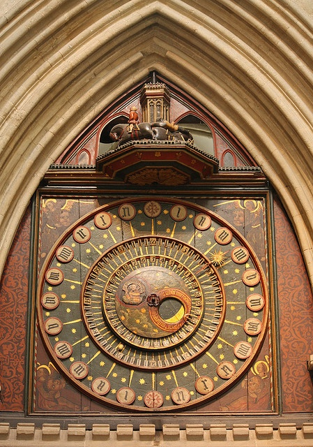 Wells Cathedral clock - believed to be the 2nd oldest clock in England and the 3rd oldest in the world, built c.1392