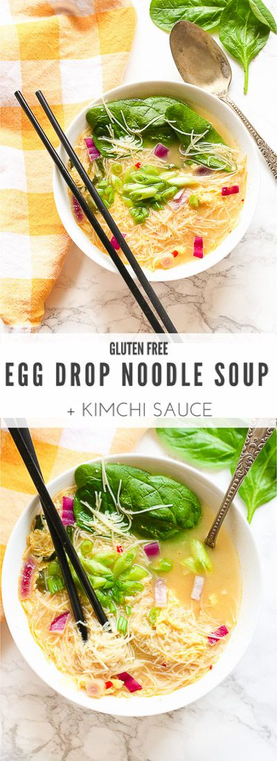 Egg Drop Noodle Soup + Kimchi Sauce: One-pot gluten free, dairy free recipe that's ready in 20 minutes! Protein-packed w/ spinach & simmered eggs, flavored with a kimchi-like sauce, and bundled together with quick rice noodles.