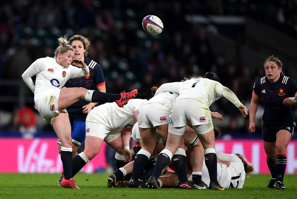Natasha Hunt of England kicks the ball during the Women's Six Nations match between England and France at Twickenham Stadium on February 4, 2017 in London, England.