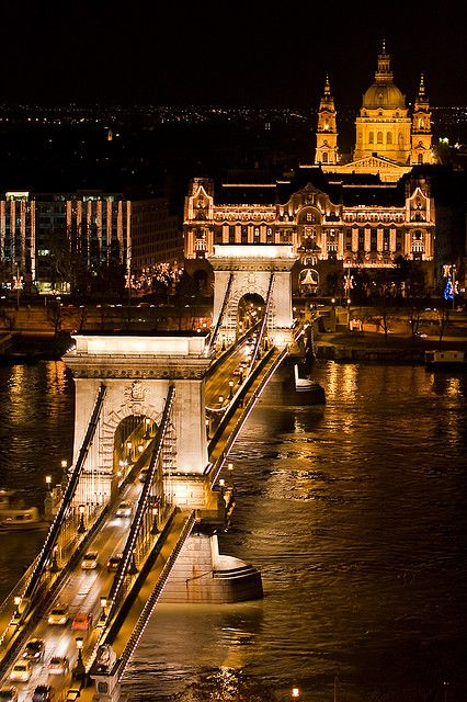 Chain Bridge and Cathedral, Budapest, Hungary