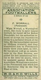 1935-36 W.D. & H.O. Wills Association Footballers #49 Fred Worrall  Back