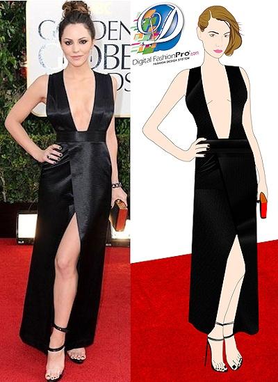 Katharine McPhee Dress - Golden Globe Awards 2013. Re-created with Digital Fashion Pro Software. http://www.DigitalFashionPro.com