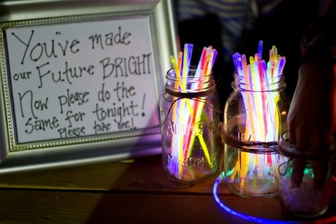 Brighten up your wedding reception with glow sticks