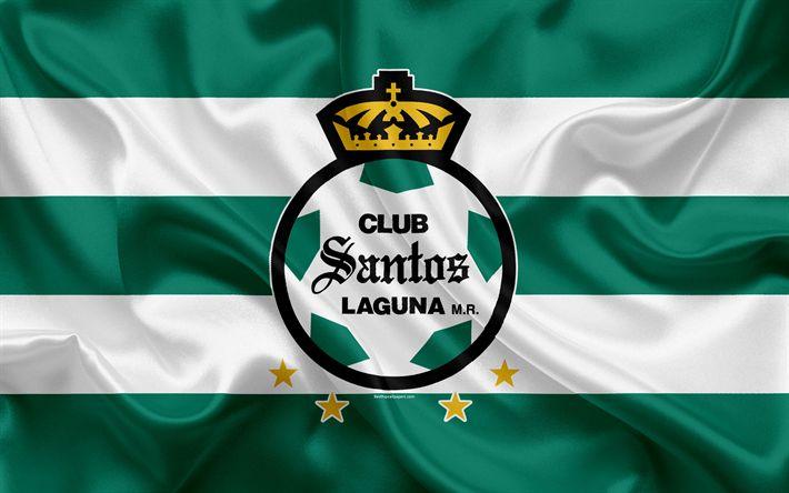 Herunterladen hintergrundbild santos laguna-fc, 4k, mexikanische fußball club, emblem, logo, zeichen, fußball, primera division, mexiko, fußball-wm, torreon, seide flagge