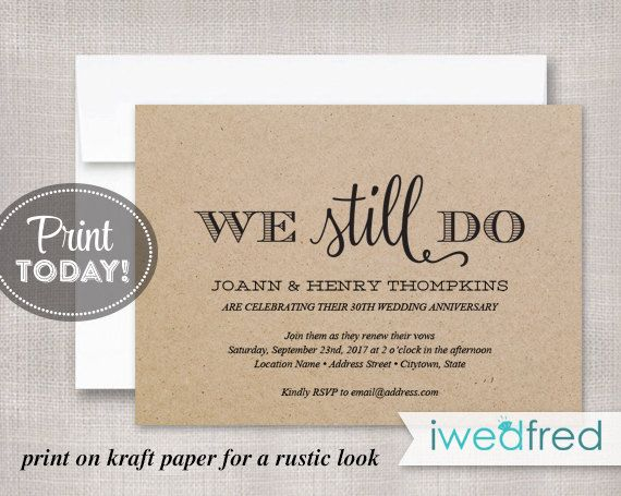 Vow Renewal Invitation Kraft Vow Renewal Invitation by iwedfred