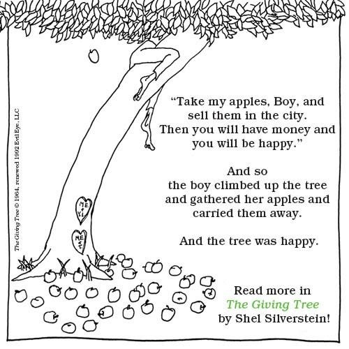 literary analysis of the book the giving tree by shel silverstein A copy of the literary analysis we were required to do  documents similar to on shel silverstein's cloony the clown  shel silverstein - the giving tree.