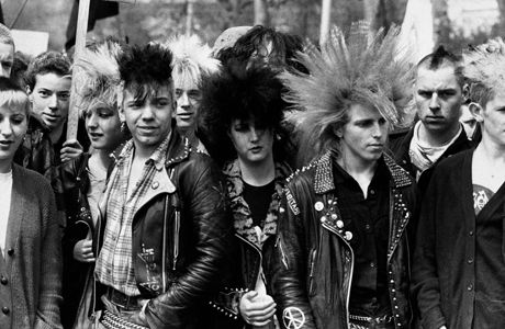 Punks march at the Rock the Bomb Festival of Peace in Brixton, 1983.
