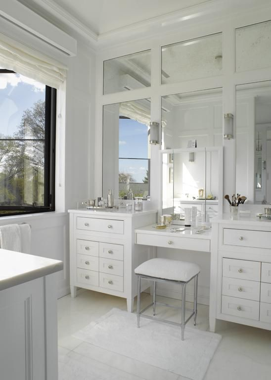 Paneled Mirrors Double Sink Vanity With Drop Down Make Up Area For The Home Pinterest