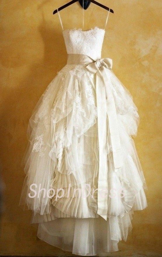 2014 Wedding Dress,Lace Wedding Dress,A-line Wedding Dress,High Low Wedding Dress,Tea Length Wedding Dress,Garden Wedding Dress WD1801 IN LOVE