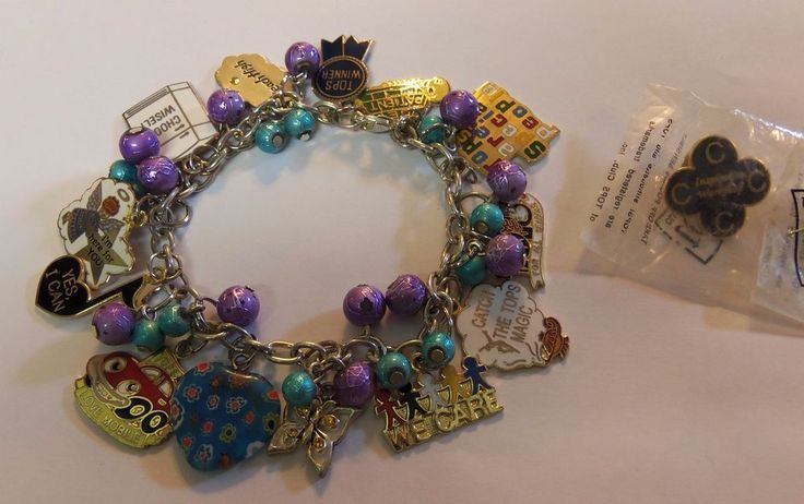 Beautiful TOPS KOPS Weight Loss Charm Bracelet & Pin - Take Off Pounds Sensibly #TOPS #Traditional
