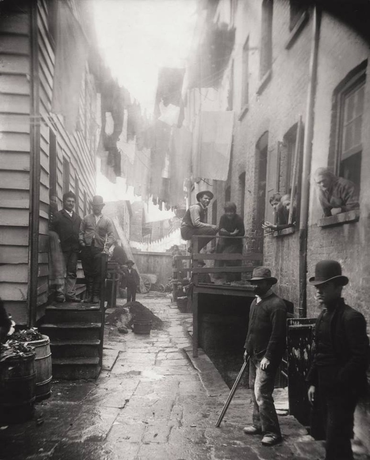 Photographer Jacob A. Riis shot this photograph in 1888 showing Bandit's Roost, one of the most crime-filled and dangerous parts of New York City.