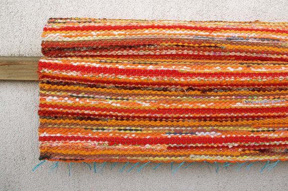 Handwoven Rag Rug  sunny yellow orange 243' x 577' by dodres, $59.00
