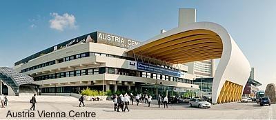 Austria Vienna Centre natuurlijk in Oostenrijk - Wenen, ogenschijnlijk orthodoxe bouw en futuristische overkapping, analoog een ouderwetse sollicitatie met eigentijdse aanpak