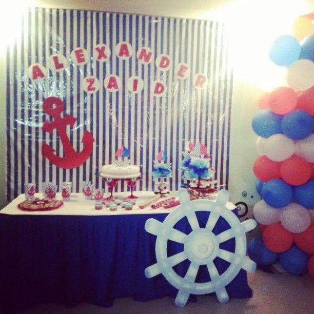 Mesa de dulces Baby Shower #Nautico #Marinero #Nautical