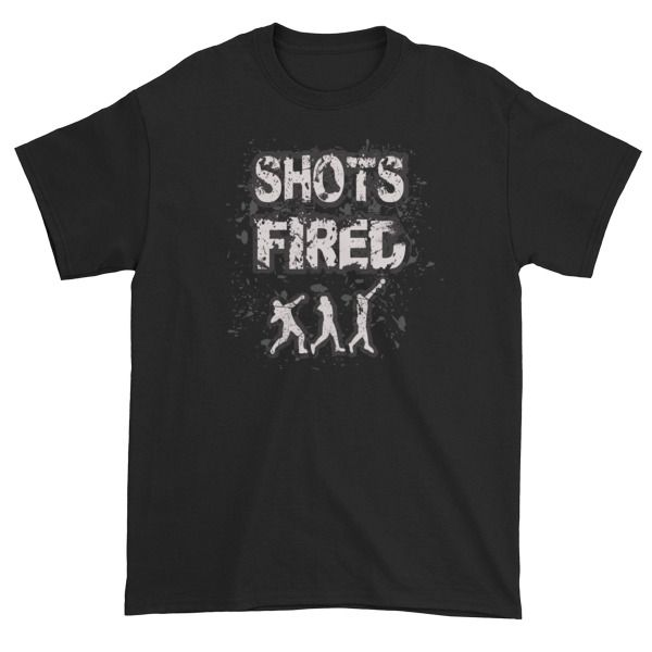 Shots Fired- Shot Put Short sleeve t-shirt. Track and field shot put thrower shirt by Throw Happy.