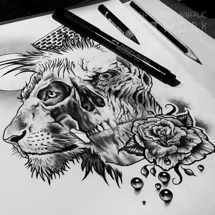 Lion, skull, rose, pearls, moon tattoo design WIP by Cleicha.deviantart.com on @DeviantArt