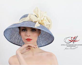 9101497a02720a Light Blue and Cream White Blue Wide Brim Summer Hat. Kentucky Derby Hat.  Church Hat, Wedding Hat, Women's summer hat, Formal Hat