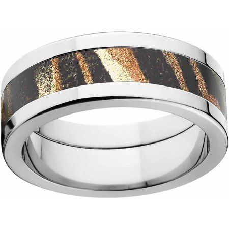 Mossy Oak Shadow Grass Men's Camo 8mm Stainless Steel Wedding Band with Polished Edges and Deluxe Comfort Fit, Size: 12.5