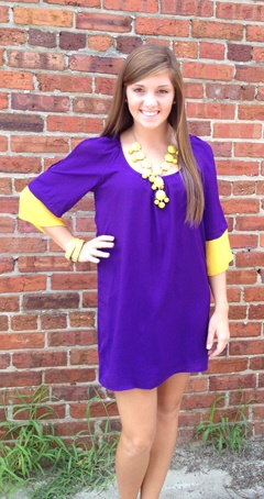 Talk of the Tailgate in Purple/Gold- Perfect for ECU games! Order yours at www.southernswankboutique.com