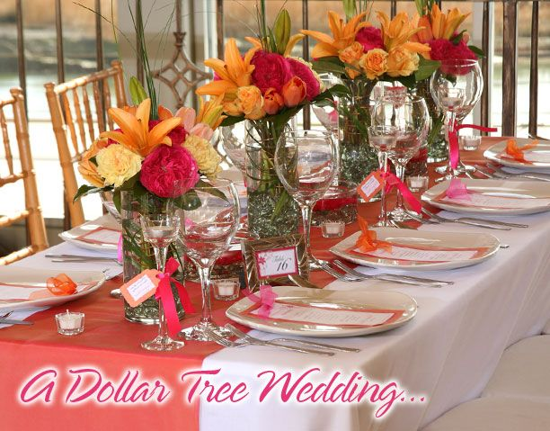 Diy Wedding Ideas From Dollar Tree Deep Pink Tangerine And Golden