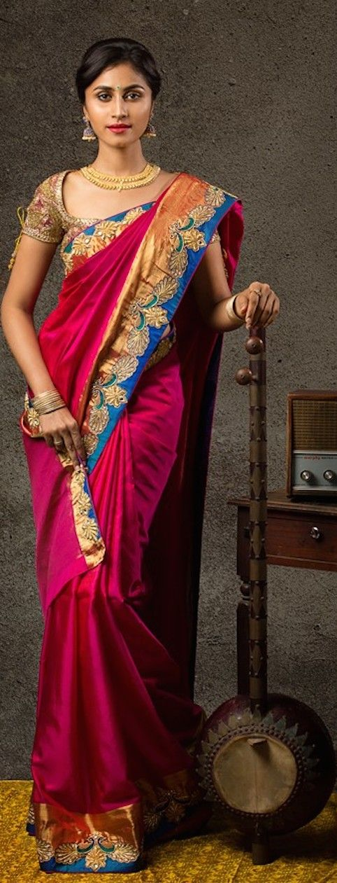 Bhargavi Kunam's Raja Ravi Varma painting inspired Collection - Photography by Shiv Kumar Akula. The Saree is Paithani silk with zardosi embroidery - original pin by @webjournal