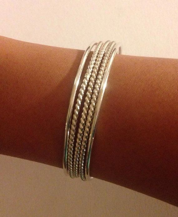 Sterling Silver Bangles 12 Gauge Set of 5, ThickCustom smooth and twisted design Bangle Bracelets on Etsy, $135.00