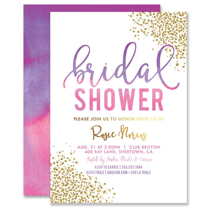 Beautiful bridal shower invitation with pink and purple watercolor ombre and gold glitter sprinkle confetti dots. Modern hand lettered calligraphy script. Coordinating envelopes and liners also available, at Digibuddha.com | Digibuddha Invitation + Paper Co.
