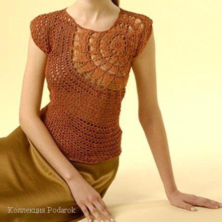 Circular pattern from shoulder starburst to waist.