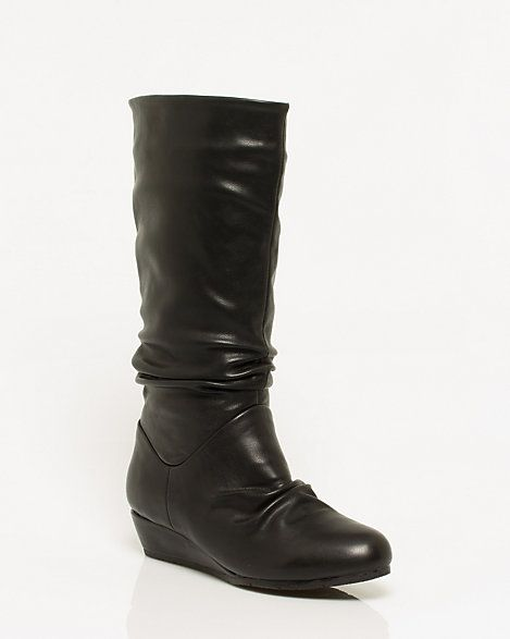Leather-like Pleated Knee High Boot