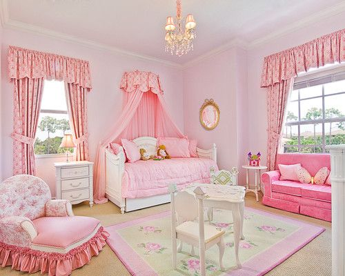 Princess Bedroom done by LS Interiors Group, Inc: Chandelier, little couch