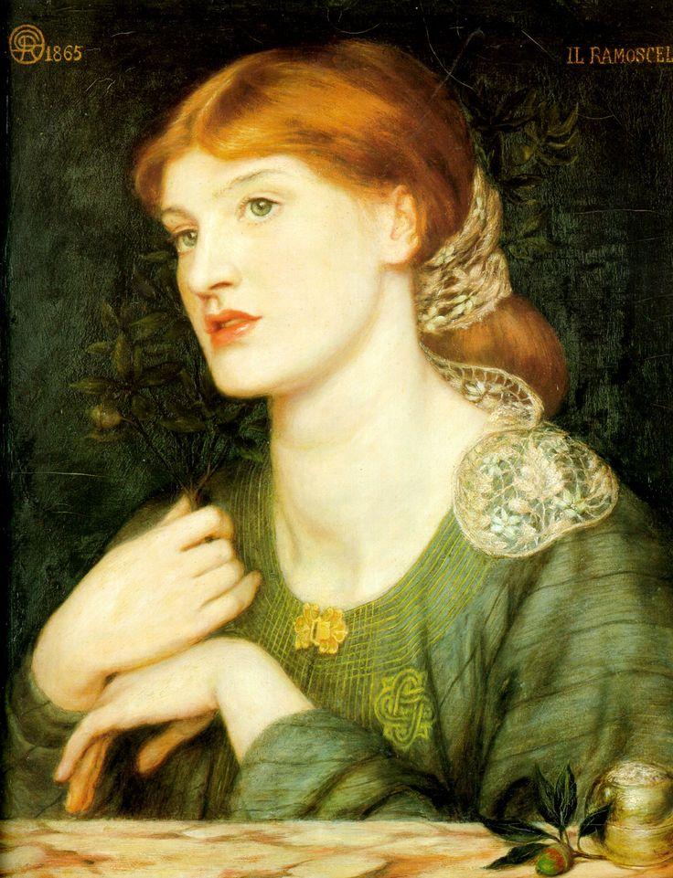 """IL Ramoscello"" (1865) by Dante Gabriel Rossetti, co-founder of the Pre-Raphaelite Brotherhood. Read more about artist: http://en.wikipedia.org/wiki/Dante_Gabriel_Rossetti"