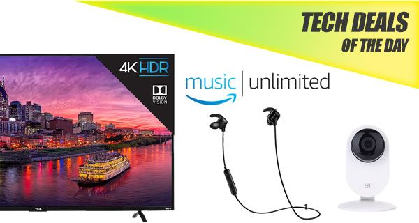 Tech Deals: $600 55-Inch 4K HDR TV, 50% Off Amazon Music Unlimited, $20 Bluetooth Earphones, More