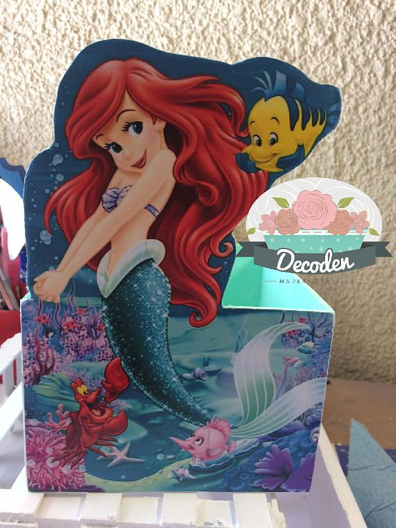 Centerpiece The Little Mermaid, La sirenita, Ariel   High 9 1⁄16in Width 5 29⁄32in  I can make any character you like.  You can ask and I will answer you as soon as possible.  The price indicated per 1 piece  These products are handmade, wooden come in a variety of colors and designs. Your item will be completed within two weeks of receiving your payment. (Payment is accepted via PayPal.)  Each package will be very carefully protected, carefully packed and shipped when completed.  *Ask all…