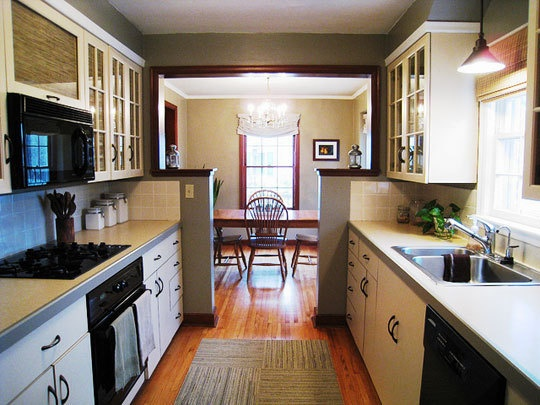 Galley Kitchen And Dining Room Combo